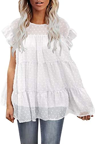 DOROSE Women s Tops Casual Cap Sleeve Ruffle Loose Babydoll Shirt Blouse Tunic Top White Small product image