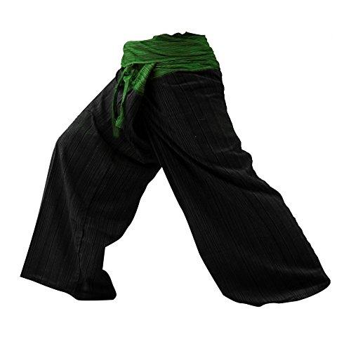 Kittiya 2 Tone Fisherman Pants Thai Yoga Plus Size Cotton Free with Cotton Stripes Green Back