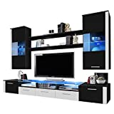MEBLE FURNITURE & RUGS Fresh Wall Unit Modern Entertainment Center with LED Lights Black/White