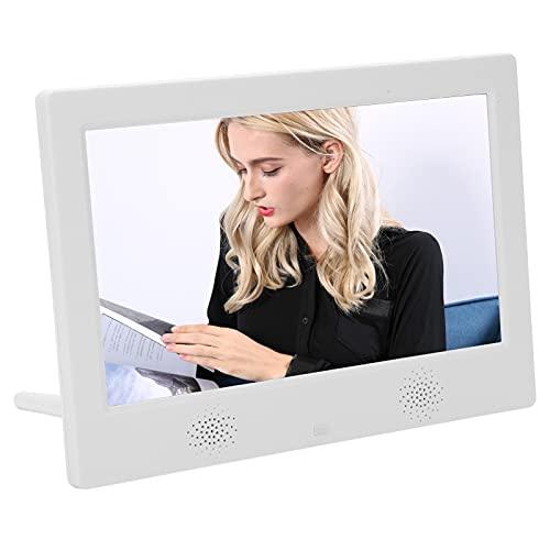 Marco de fotos digital,marco de fotos digital WiFi inteligente de 10 pulgadas,1024x600,compatible con reproducción de imágenes/MP3/MP4,control de modo dual,compatible con USB y tarjeta SD(blanco)