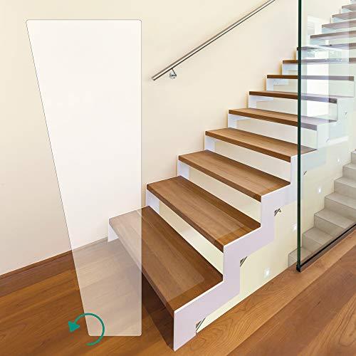 Premium Treppenfolie, Anti-Rutsch Stufenmatten, transparent, für Wendeltreppen (70 x 400 x 220 mm - links gewendelt)