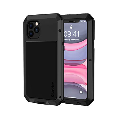 Lanhiem Funda iPhone 11 Pro, [Rugged Armour] Antigolpes Metal Estuche Protectora, Absorción de Choque y Duradera Fundas con Protector de Pantalla Vidrio Carcasa para iPhone 11 Pro, Negro