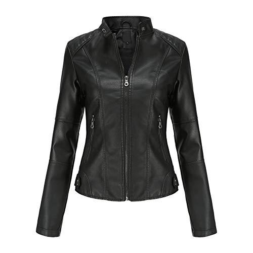 YYNUDA - Chaqueta de piel sintética para mujer, diseño de aviador, moto,...