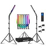 Neewer 2,4G RGB LED Luz Palo, 2 Pack Kit de Iluminación para Fotografía con Control Remoto, 21W Regulable 3200k~5600K / CRI95 + / 360° a Todo Color / 10 Efectos de Escena con Soporte y Bolsa