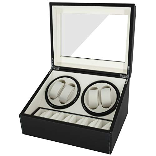 Feibrand Caja Relojes Automaticos Enrollador: Estuche para 4+6 Reloj Automático Giratoria Cajas Organizadora con Motor Silencioso de Cuero PU Hombre Watch Winder Box Guarda Relojes de Exhibición Negro