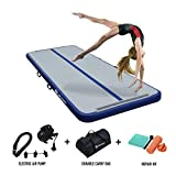 AKSPORT Air Mat Tumble Track Gymnastics Tumbling Mat Inflatable Floor Mats With Electric Air Pump for Home/Tumble/Gym/Training/Cheerleading/Parkour/Beach/Park/Water 10/13/16/20/23/26/29/33ft (dark blue, 20ft)