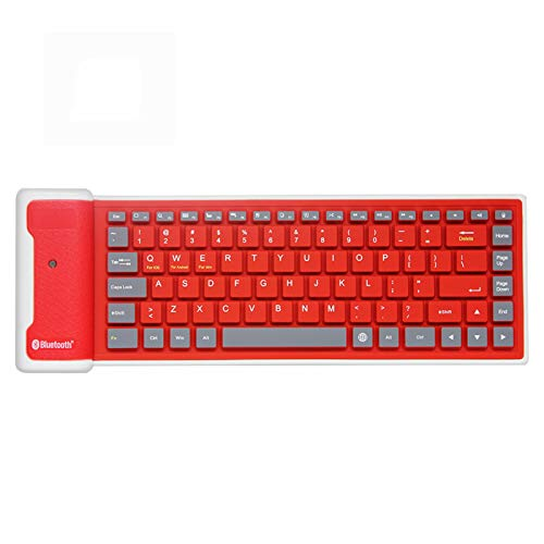 Mini Wireless Bluetooth Keyboard,Foldable Portable Silent Click Silicone Soft Waterproof Slim Rollup Keypad Rechargeable for PC Notebook Laptop (Red)