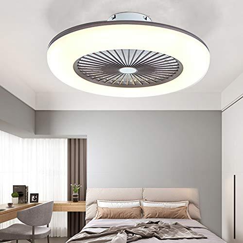 YIWEN Ventilador De Techo Moderno con Luz, Velocidad del Viento Ajustable, Luz De Techo LED, Regulable con Control Remoto Y Aplicación, Lámpara De Techo para Dormitorio De 80 W,Marrón