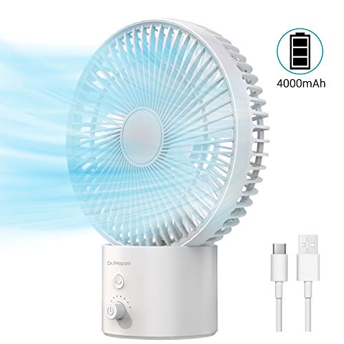 Dr. Prepare 4000mAh Oscillating Desk Fan, 8-Inch USB Table Fan with 8 Speeds, Rechargeable Battery Operated with Dial Switch, Personal Cooling for Desktop Office Bedside Bedroom, White