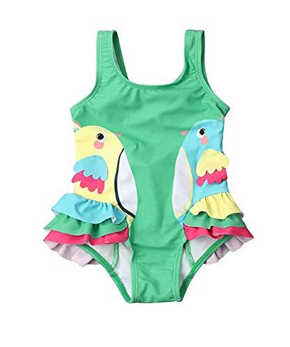 Bebé Bañador de Recién Nacida Traje de Baño de Una Pieza para Niñas Pequeñas Bikini de Volantes con Estampado de Pájaros Bañador de Tirantes con Espalda Descubierta y Bowknot (Verde, 6-12 Meses)