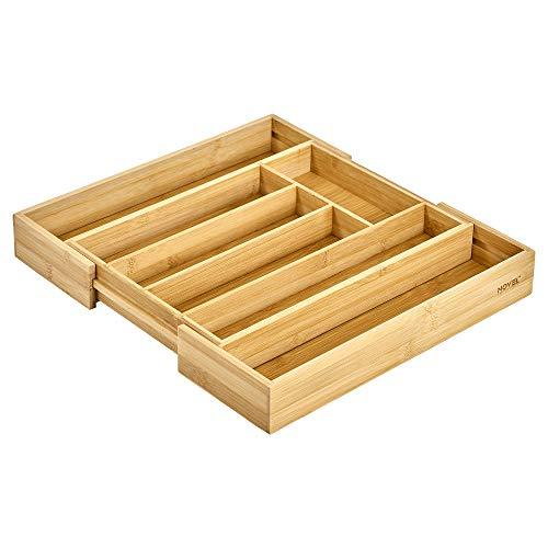 Novel Solutions Erweiterbarer Bambus-Besteckhalter für Küchenutensilien, Besteck-Organizer mit Trennwänden