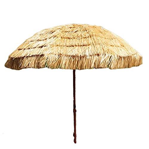 WSDSX Parasoles Jardin,Sombrilla Tiki de 6.5 pies Sombrilla Sunbrella Paraguas Tiki con Techo de Paja Hawaiano Sombrilla Redonda para Patio Impermeable Césped Exterior Piscina Patio Trasero Parasol