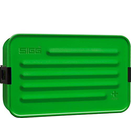 SIGG Metal Box Plus L Green Lunchbox 1.2 L, moderne Brotdose mit praktischem Einsatz, federleichte Brotbox aus Aluminium mit Trennwand
