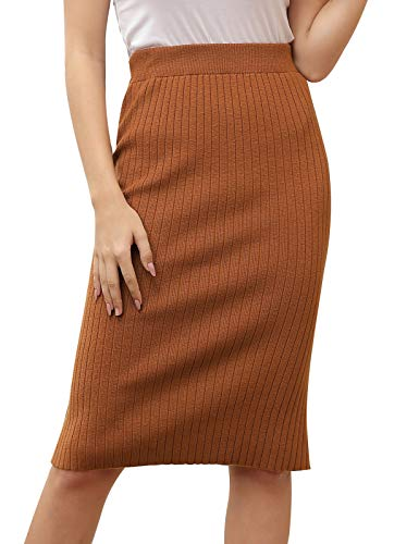 Women's Basic Plain Ribbed Knit Slit Pencil Skirt Full Length for Formal Office Camel XS
