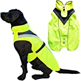 Lautus Pets Dog Rain Coat - Waterproof, Reflective, Bright Yellow with Harness Hole (S, Yellow)