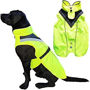 Lautus Pets Waterproof Dog Raincoat – Reflective, Yellow Rain Jacket with Harness Hole for Small, Medium and Large Dogs