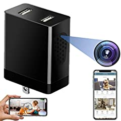 📹【Wifi Spy Camera Wireless Hidden Charger with Remote View on APP】- The discreet security camera with built-in Mini wifi hidden camera lens and dual USB slots support Wi-Fi remotely view real-time 1080P Full HD video with a viewing angle on your phon...