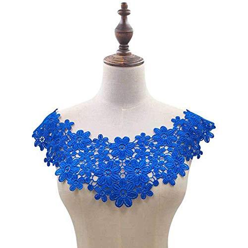Witte kant Fabic geborduurde applique halslijn voor kantstof Naaibenodigdheden Scrapbooking DIY-jurken, blauw