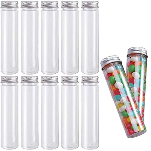 10 Piezas Tubos de Ensayo de Plástico Transparente, Tubo de Ensayo Plano de Plástico Transparente, Tubos de Ensayo Flores con Tapón de Rosca, para Almacenar Dulces, Flores y Accesorios Hogar (110 ml)
