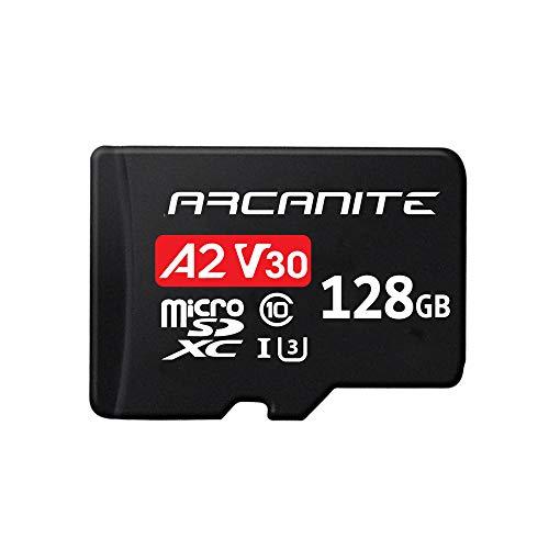 ARCANITE 128 GB microSDXC-Speicherkarte mit Adapter, A2, UHS-I U3, V30, 4K, C10, microSD, Lesegeschwindigkeiten von bis zu 95 MB/s.