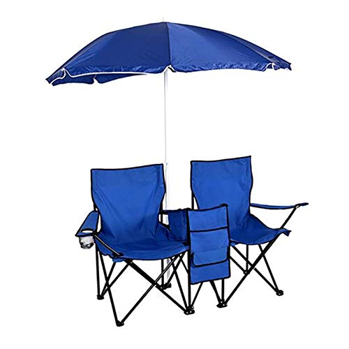 YXIUER Silla Plegable de 2 Asientos al Aire Libre portátil con Silla de Pesca Azul removible de Sol Paraguas sillones para Tomar el Sol