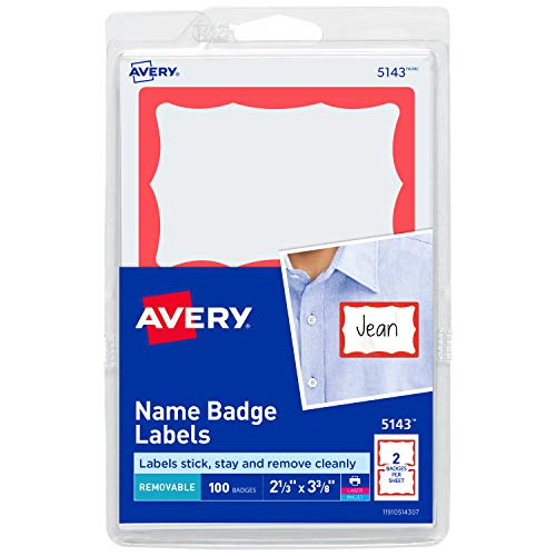 Avery Name Tag Stickers, Red Border, Print or Write, 100 Removable Name Badges, 2-1/3' x 3-3/8' (5143)