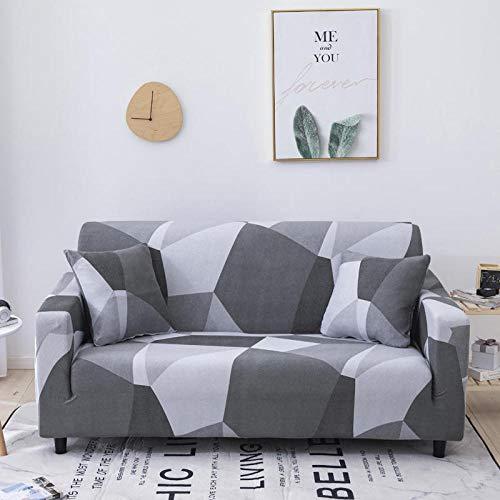 Funda de sofá Antideslizante de Poliéster SpandexRejilla Gris Estampado,Funda elástica Antideslizante Protector Cubierta de Muebles para sofá de 2 plazas(1 Funda de Almohada)