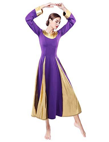 Z&X Vestido de baile de alabanza para mujer, color dorado, metlico, para adorar, traje de danza litrgica, manga larga, vestido de tnica de iglesia