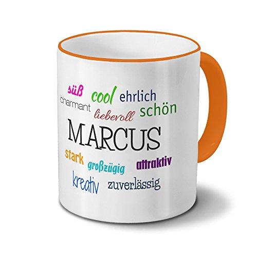 printplanet Tasse mit Namen Marcus - Positive Eigenschaften von Marcus - Namenstasse, Kaffeebecher, Mug, Becher, Kaffeetasse - Farbe Orange
