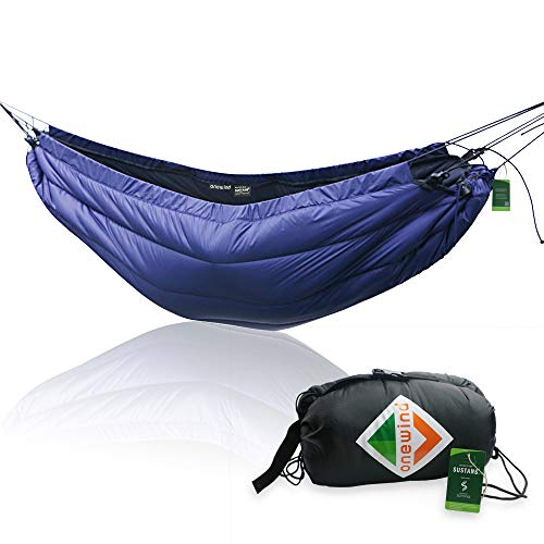 onewind Underquilt 2 Person Hammock Camping Quilt Lightweight Sleeping Bag Portable Hammock Insulation Hiking Night Protector (Dark Blue Underquilt, 50-59 Degrees Fahrenheit)