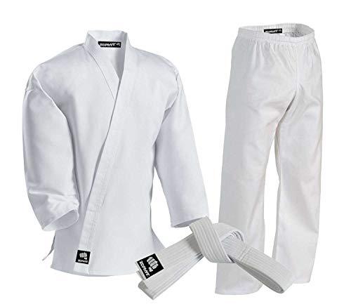 Zephyr Martial Arts Karate Gi Student Uniform with Belt - White - 000