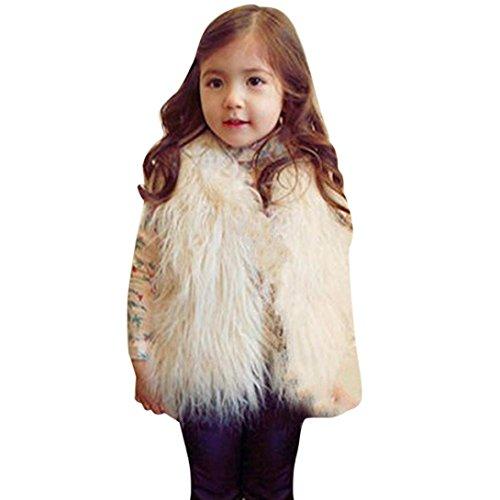 HOMEBABY Peuter Kids Baby Meisje Faux Bont Gilets, Winter Warm Baby Kleding Meisjes Mouwloos Jas Winter Wit Waistcoat Vest Jas Fluffy Dikke Jas Bovenkleding 2-6 Jaar