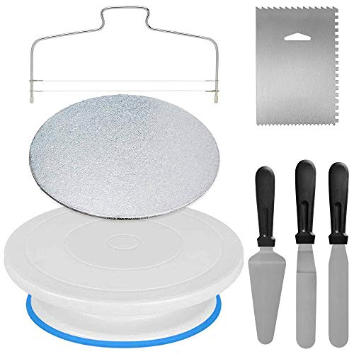 Cake Decorating Tools 7pcs Cake Turntable Stand Cake Decorating Kit with Cake Spinner Cake Scraper 2 Spatula Cake Server Baking Tools and Baking Supplies with Revolving Rotating Table and Other Tools