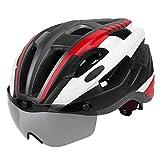 FITYLE Casco de Bicicleta para Adultos con Gafas magnéticas Desmontables tamaño Ajustable para Hombres Mujeres Ciclismo Cabeza Protector 21,65-24,4 Pulgadas - Rojo