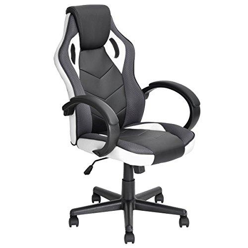 Furniturer Racing Chair Gaming Style sedia da ufficio con schienale alto ergonomico regolabile girevole in pelle PU, computer supporto sedile