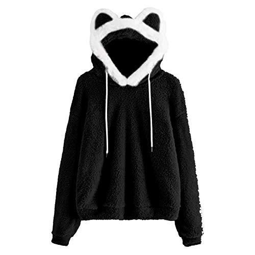Dicomi Frauen Sweatshirt Pullover Fuzzy Fleece Sweatshirt Nettes Ohr Langarm Causal Hoodie Tee Top