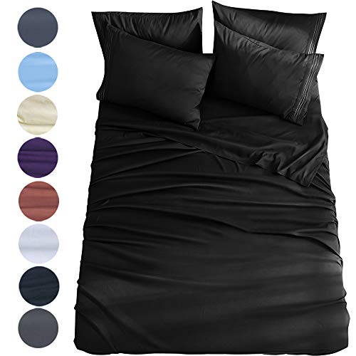 Shilucheng King Size 6-Piece Bed Sheets Set Microfiber 1800 Thread Count Percale 16 Inch Deep Pockets Super Soft and Comforterble Wrinkle Fade and Hypoallergenic(King,Black)