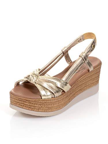 Alba Moda Sandalette mit effektvoller Knotenoptik auf der Front Goldfarben