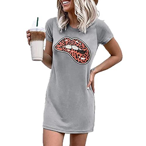 SLYZ Abrigo De Fondo para Mujer De Moda De Verano, Mini Vestido De Manga Corta con Cuello Redondo Y Estampado De Letras para Mujer