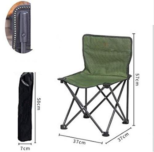 Pkfinrd Klapstoel, draagbaar, klein, klapstoel, voor buiten, vet, dik metaal, vrijetijdsstoel, strandstoel, outdoor, camping, stoel, wandelen, vissen Groene en zwarte doek.