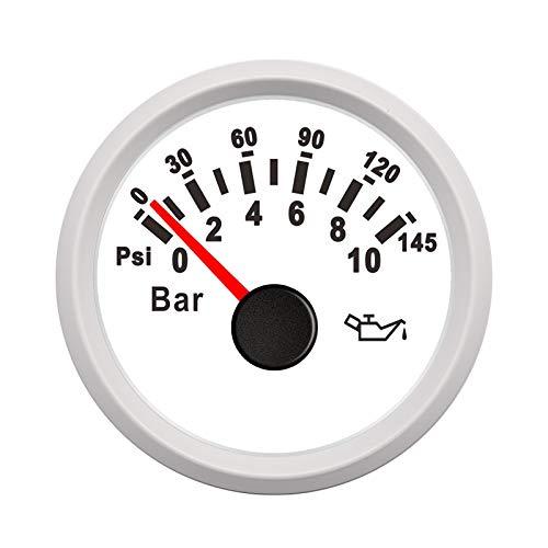 DFYYQ Medidor de presión a Prueba de Agua Barco de Aceite del Coche y la presión del Metro 0-10 0-5Bar de Combustible de presión de Aceite Auto Meter 12V 24V (Color : WW 10bar)
