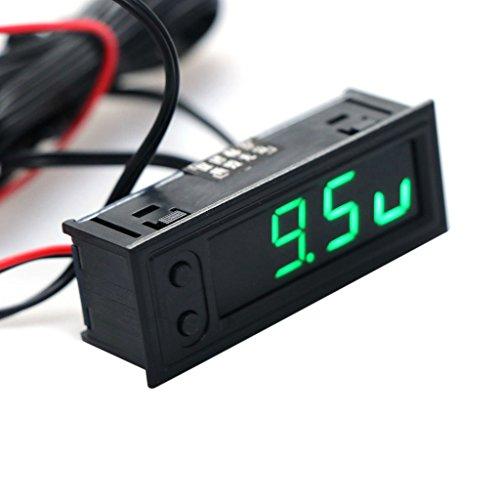 Cuigu 3-in-1 Multifunktions-Uhr, hohe Präzision, Uhr innen und außen der Fahrzeugtemperatur, Akku, Spannungsmessgerät, 12 V (grün)