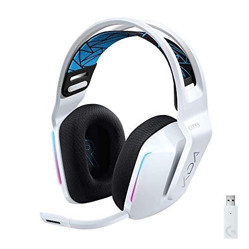 Headset Gamer Sem Fio Logitech G733 K/DA 7.1 Dolby Surround com Tecnologia Blue VO!CE, RGB LIGHTSYNC, Drivers de Áudio Avançados e Bateria Recarregável - Edição Oficial League of Legends KDA