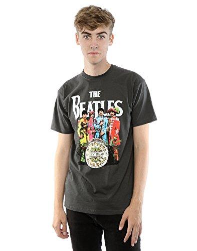 Camiseta con imagen del «Sgt Pepper» de The Beatles, de manga corta gris claro Medium