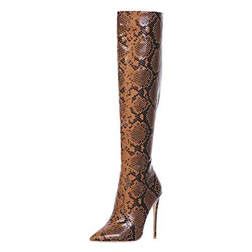 Lydee Damen Mode Overknee Stiefel Stiletto Heels Side-Half-Zipper Büro Lange Stiefel Party Hohe Stiefel Snake Dark-Brown Gr 37