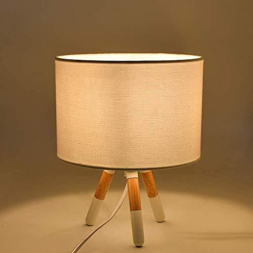 DLLT Tischlampe aus Holz Modern, mit Druckschalter & E14 Glühbirne, 3000K, Schreibtischlampe Kinder Warmweiß, Rund Leselampe Nachtlicht für Kinderzimmer Schlafzimmer Büro Studieren Lesen