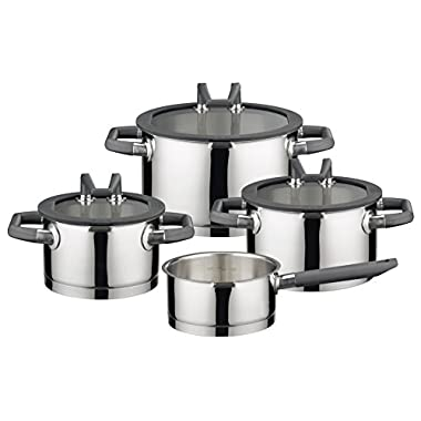 ELO Premium Black Pearl Stainless Steel Kitchen Induction Cookware Pots and Pans Set with Easy-Pour Lids, Heat Resistant Handles and Integrated Measuring Scale, 7-Piece