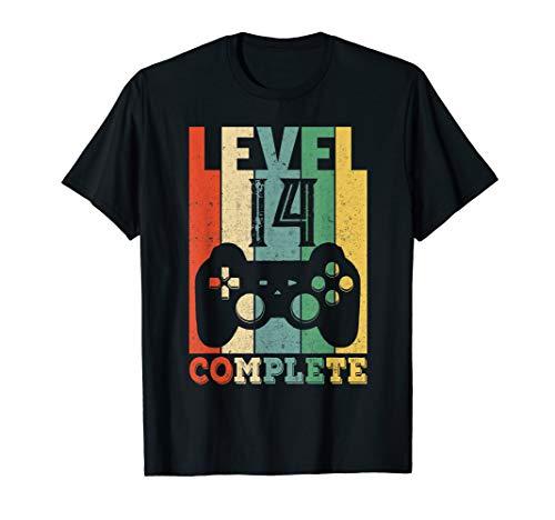 14. Geburtstag Party Geschenk Junge Mädchen Gamer Level 14 T-Shirt
