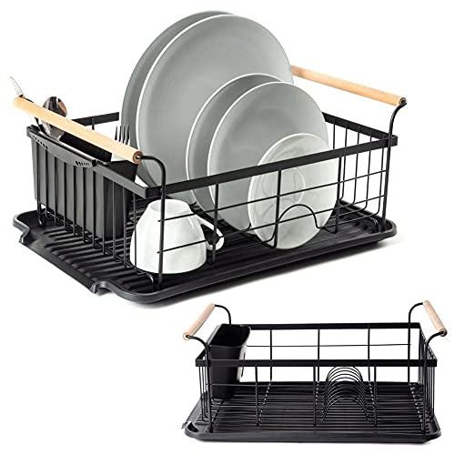 VILDE Geschirrabtropfer Drip | Geschirr Abtropfgestell in Schwarz | 42,5x29,5x19 cm | Perfekt für die Küche