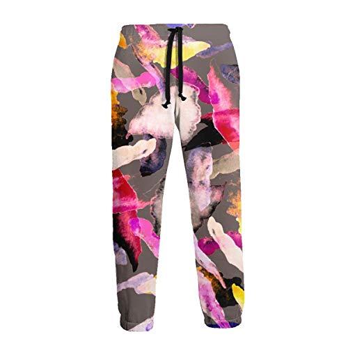 Acuarelas Elementos Abstractos Hombres Pantalones Deportivos Pantalones de Chándal Suaves con Bolsillos Pantalones de Chándal para Entrenamiento en El Gimnasio XL